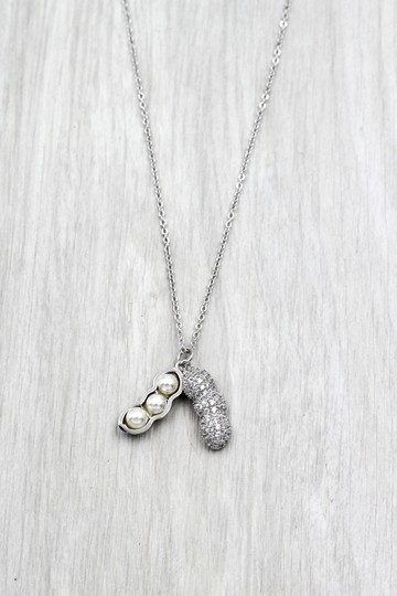 Ocean Fashion Sterling silver peanut crystal pendant necklace Image 5