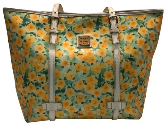 Preload https://img-static.tradesy.com/item/24752446/dooney-and-bourke-yellow-and-white-leather-tote-0-1-540-540.jpg