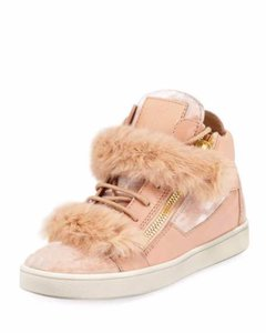 Giuseppe Zanotti Fur Patent Leather Velvet High Top Pink Athletic