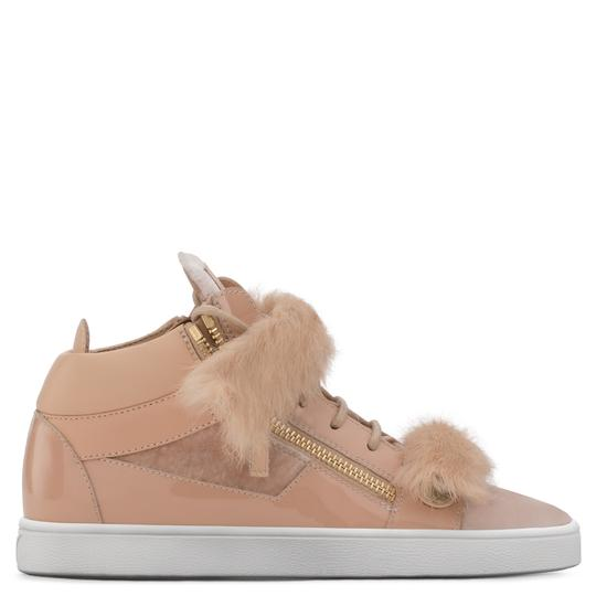Giuseppe Zanotti Fur Patent Leather Velvet High Top Pink Athletic Image 2