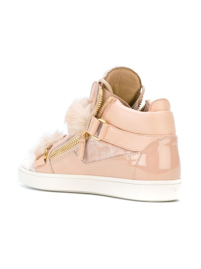 Giuseppe Zanotti Fur Patent Leather Velvet High Top Pink Athletic Image 4