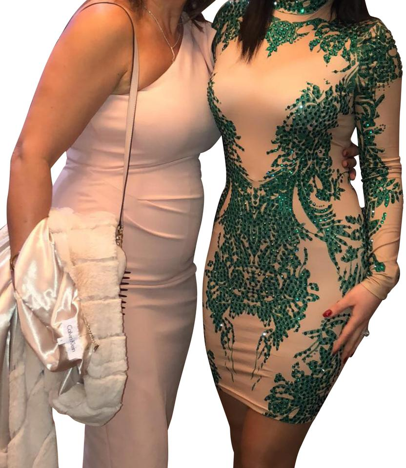 b7be1af61a07a Emerald Green and Nude Fj Short Cocktail Dress Size 4 (S) - Tradesy