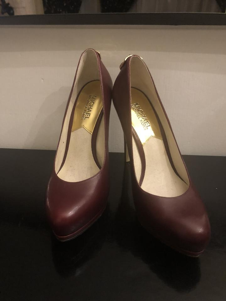 9b1fc2406c MICHAEL Michael Kors Wine / Burgundy Antoinette Leather - Wine/Burgundy  with Gold Hardware Pumps Size US 6.5 Regular (M, B) - Tradesy