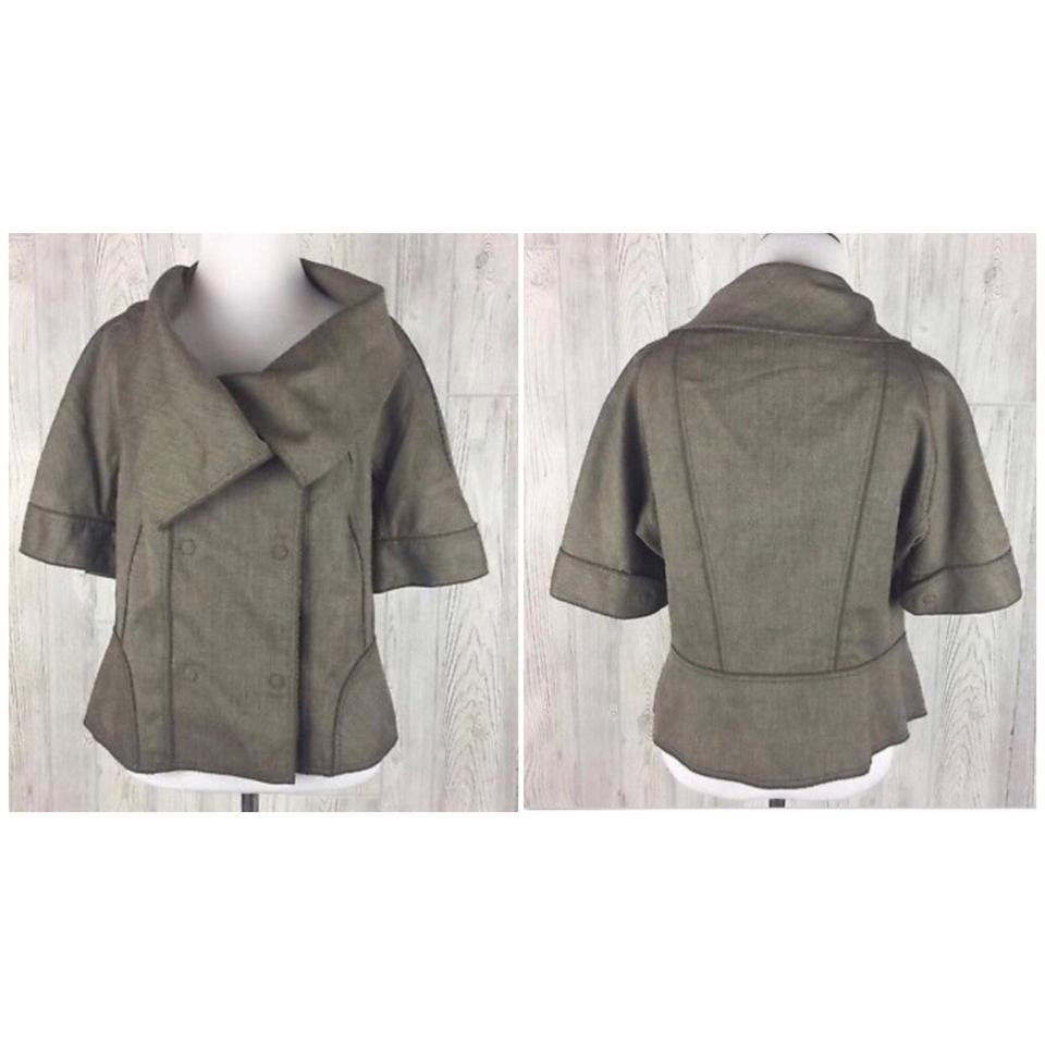 346dccf9a6f65 Magaschoni Brown Tweed Short Sleeve Oversized Collar Blazer Size 10 ...