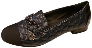 Chanel Loafers Moccasin Chain Deerskin Navy Blue/Black Flats