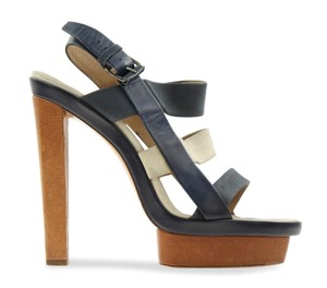 Balenciaga Two-tone Suede Leather Blue Sandals