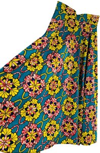 Guiltie Print Floral Maxi Skirt Turquoise