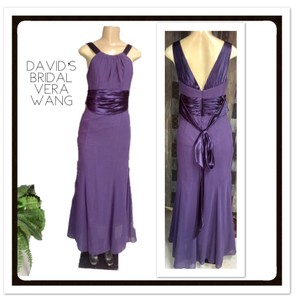 David's Bridal Purple Chiffons High Neck Crisscross Back Formal Bridesmaid/Mob Dress Size 6 (S)