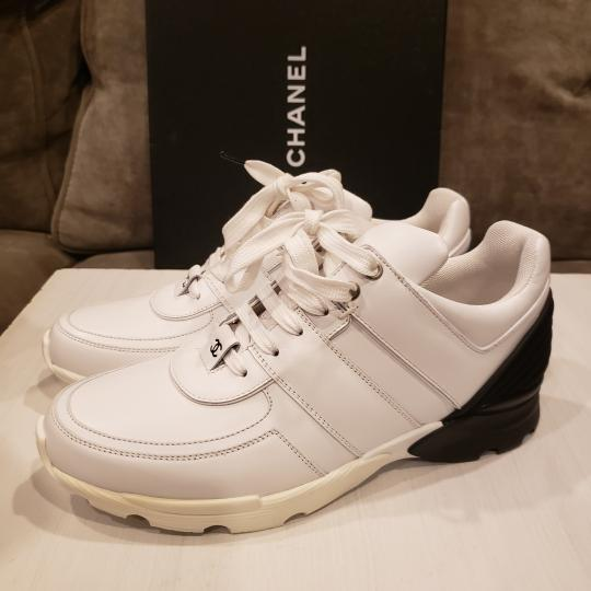 Chanel Cc Sneakers Kicks Tweed White, Black Athletic Image 1