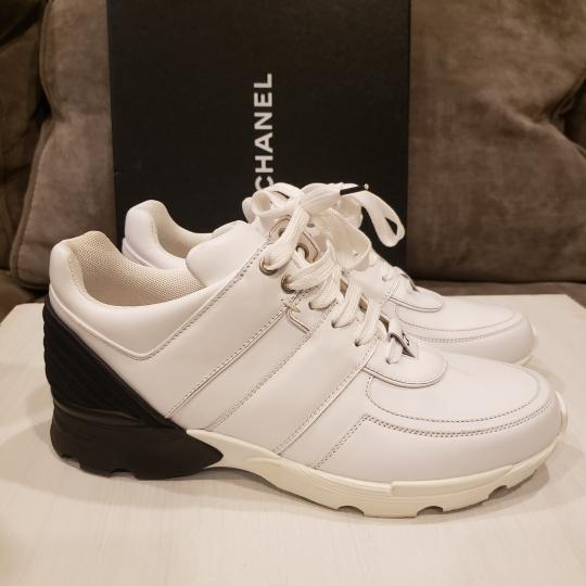 Chanel Cc Sneakers Kicks Tweed White, Black Athletic Image 2