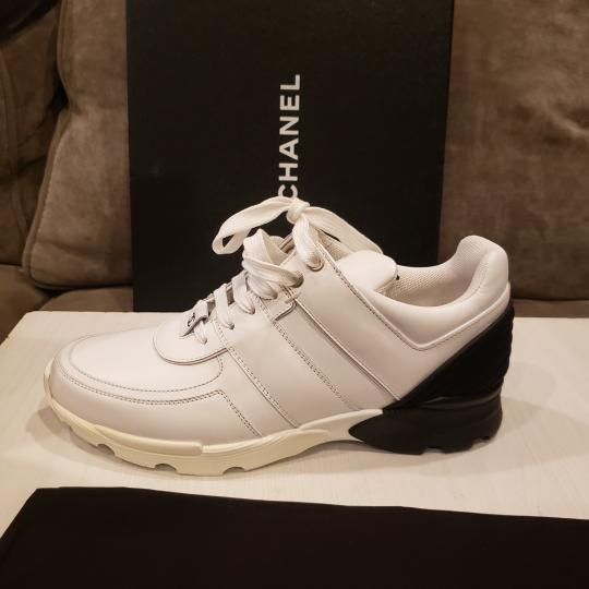 Chanel Cc Sneakers Kicks Tweed White, Black Athletic Image 3