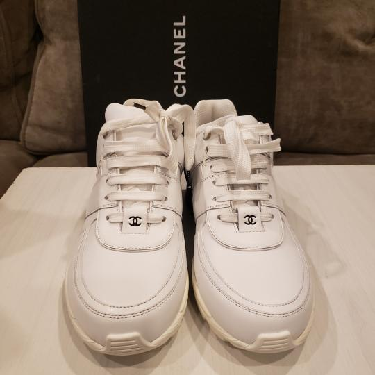 Chanel Cc Sneakers Kicks Tweed White, Black Athletic Image 5