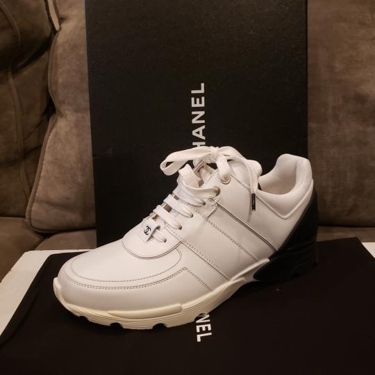 Chanel Cc Sneakers Kicks Tweed White, Black Athletic Image 8