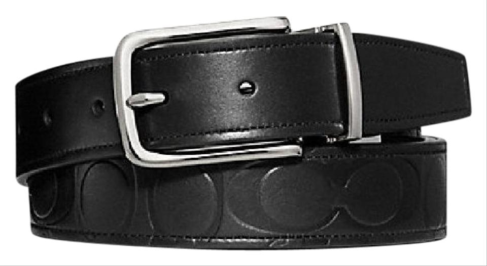 11a6486f9940 Coach COACH mens leather belt F66125 black signature embossed reversible  Image 0 ...