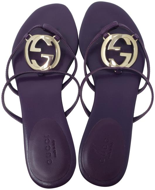 Item - Purple Leather Gg Logo Charm Sandals Size EU 36 (Approx. US 6) Wide (C, D)