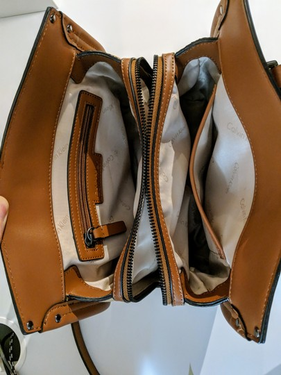 Calvin Klein Leather Satchel in Brown Image 5