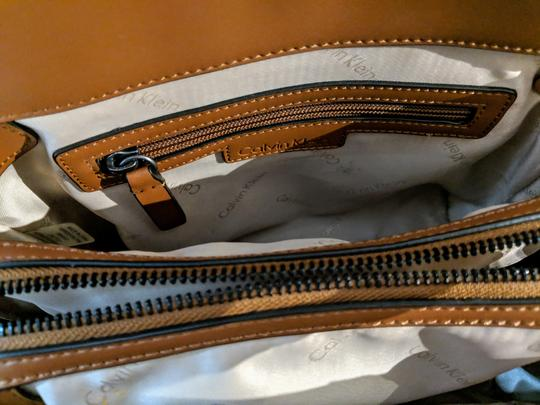Calvin Klein Leather Satchel in Brown Image 6