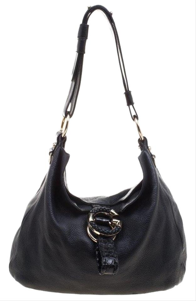 3f8b5e2078e Gucci Pebbled Large Wave Black Leather Hobo Bag - Tradesy