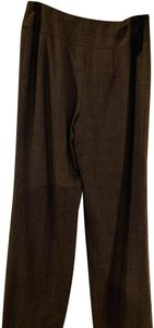 Jones New York Print Plaid Trouser Pants Brown