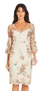 Adrianna Papell Lace Floral Embroidered Bell Sleeves Dress