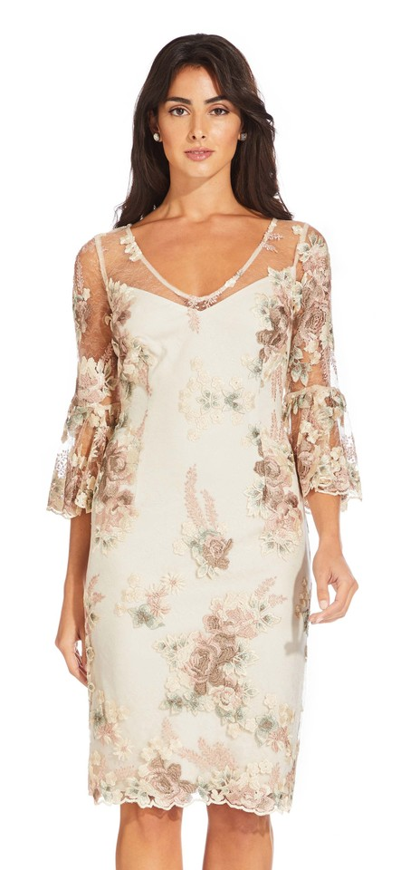 Mink Multi Lace Three Adrianna Papell Floral With Embroidered 3q54RjcLA