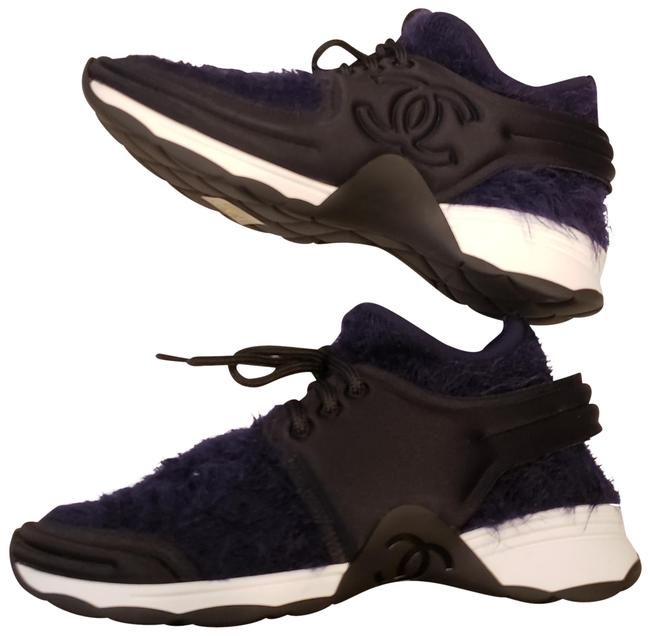 Chanel Navy Blue/Black 18a Stretch Fabric Lace Up Kicks Sneakers Size EU 36.5 (Approx. US 6.5) Regular (M, B) Chanel Navy Blue/Black 18a Stretch Fabric Lace Up Kicks Sneakers Size EU 36.5 (Approx. US 6.5) Regular (M, B) Image 1