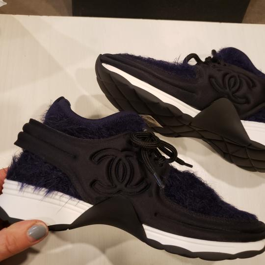 Chanel Flats Sneakers Tennis Kicks Navy Blue/Black Athletic Image 3