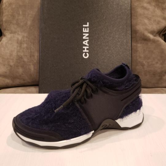 Chanel Flats Sneakers Tennis Kicks Navy Blue/Black Athletic Image 5
