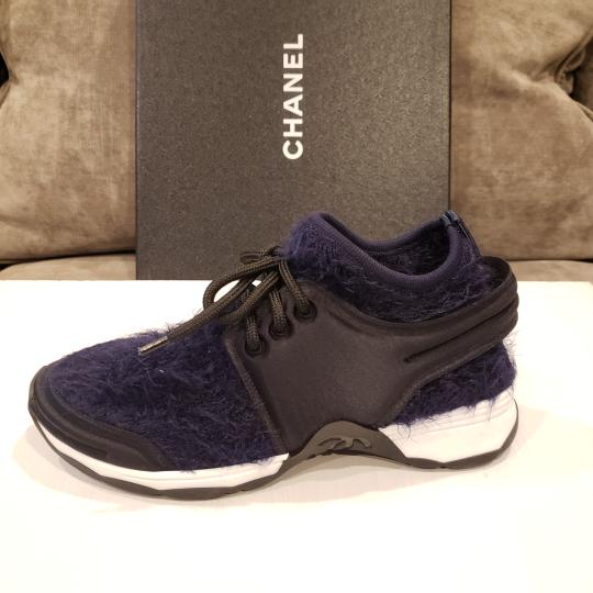 Chanel Flats Sneakers Tennis Kicks Navy Blue/Black Athletic Image 6