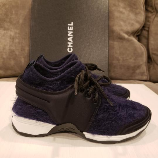 Chanel Flats Sneakers Tennis Kicks Navy Blue/Black Athletic Image 7