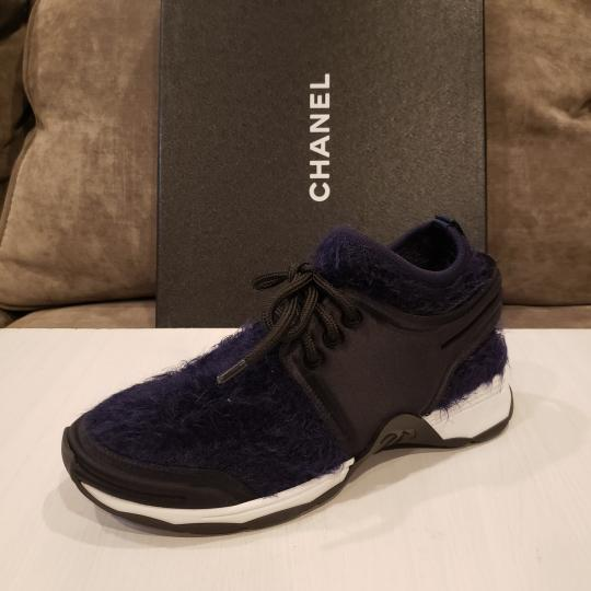 Chanel Flats Sneakers Tennis Kicks Navy Blue/Black Athletic Image 8