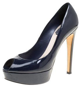 Dior Patent Leather Peep Toe Platform Leather Navy Blue Pumps