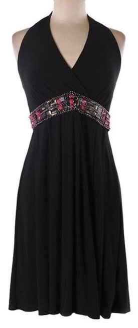White House | Black Market Embellished Halter Matte Jersey Stretchy Dress Image 2