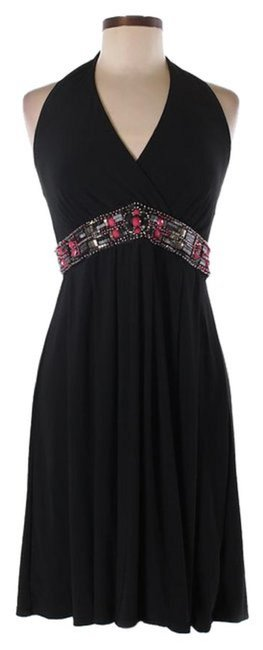 White House | Black Market Embellished Halter Matte Jersey Stretchy Dress Image 4