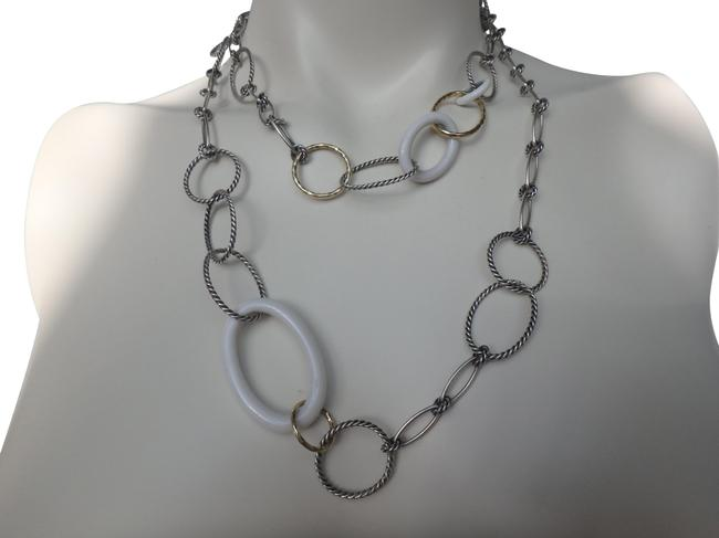 David Yurman Sterling Silver 18k Yellow Gold and White Ceramic Mobile Link Chain Necklace David Yurman Sterling Silver 18k Yellow Gold and White Ceramic Mobile Link Chain Necklace Image 1