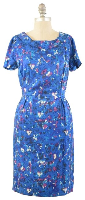 Boden Short Sleeve Rolled Collar Silk Floral Dress Image 0