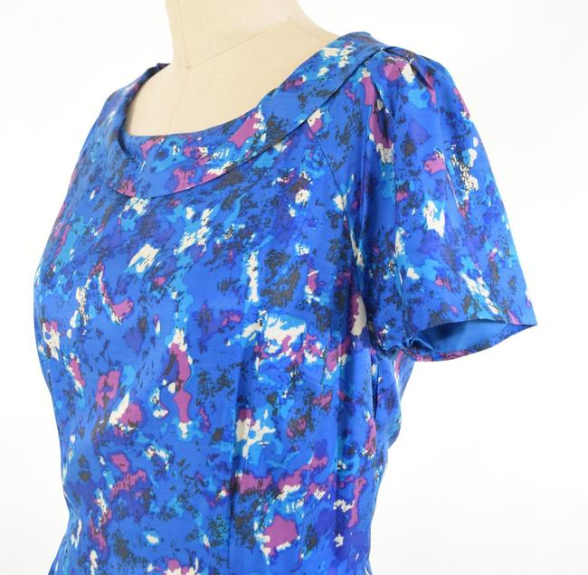 Boden Short Sleeve Rolled Collar Silk Floral Dress Image 1