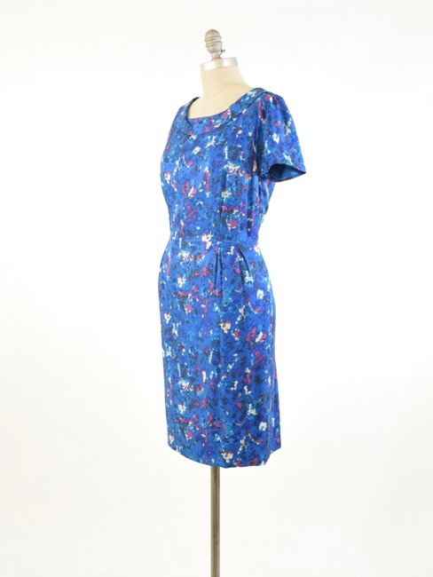 Boden Short Sleeve Rolled Collar Silk Floral Dress Image 2