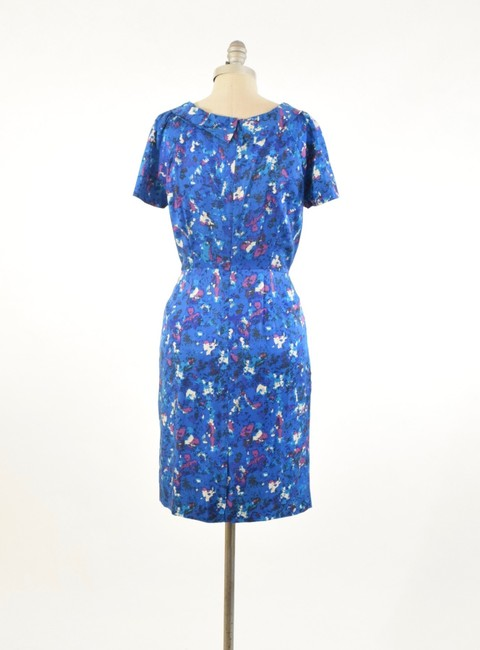Boden Short Sleeve Rolled Collar Silk Floral Dress Image 3