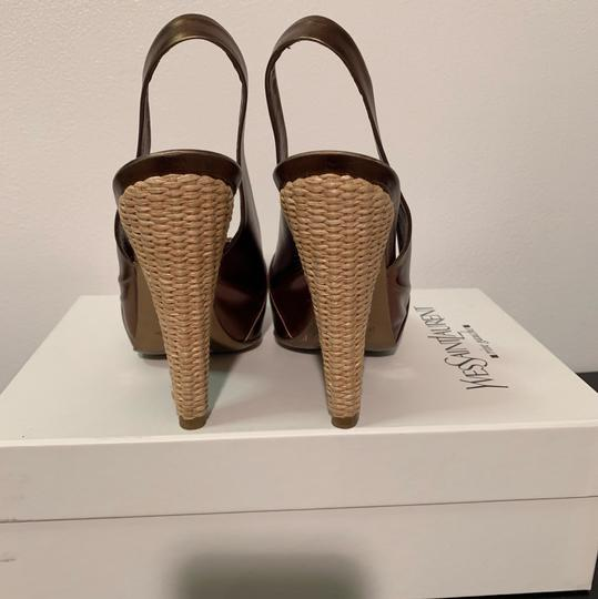 Bronze Saint Laurent Sling backs, Raffia Woven Hill Pumps Image 3