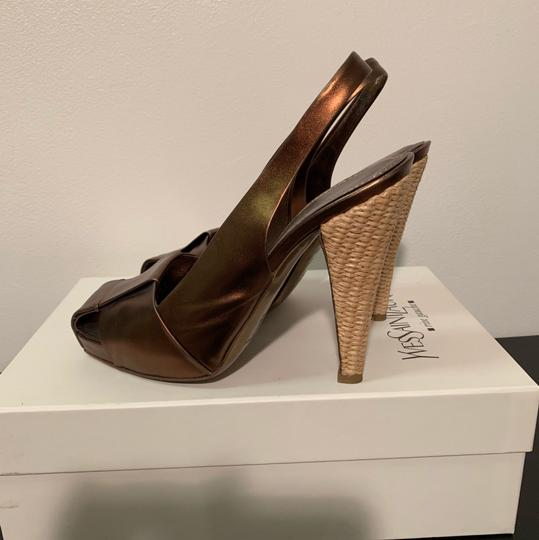 Bronze Saint Laurent Sling backs, Raffia Woven Hill Pumps Image 4