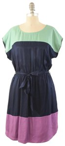 Boden short dress Navy Silk Boatneck Tie-waist Mini on Tradesy