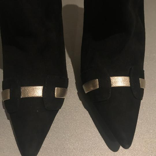 Laundry by Shelli Segal Stiletto Black Suede/Metallic Silver Boots Image 10