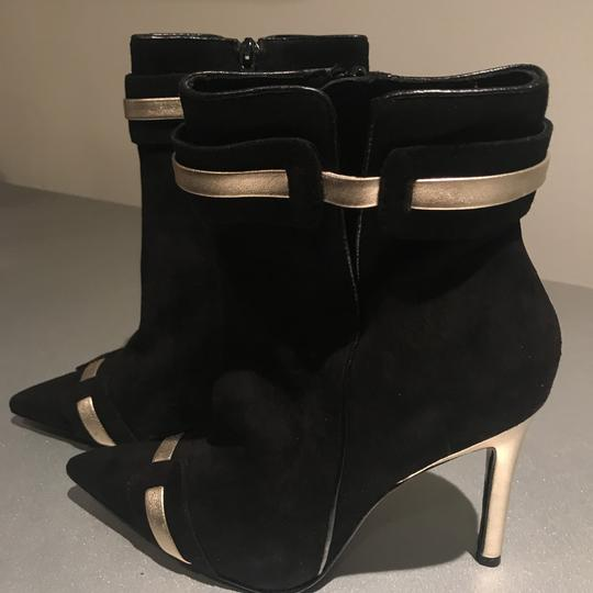 Laundry by Shelli Segal Stiletto Black Suede/Metallic Silver Boots Image 11
