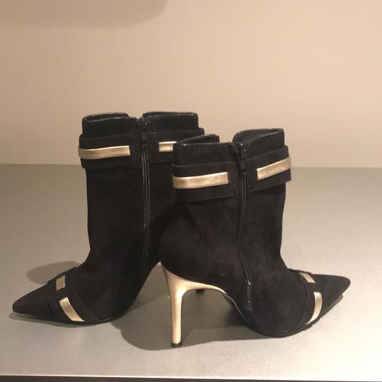 Laundry by Shelli Segal Stiletto Black Suede/Metallic Silver Boots Image 3
