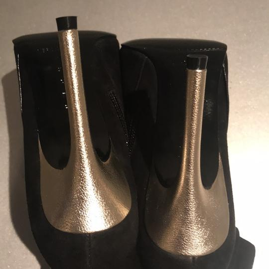 Laundry by Shelli Segal Stiletto Black Suede/Metallic Silver Boots Image 6