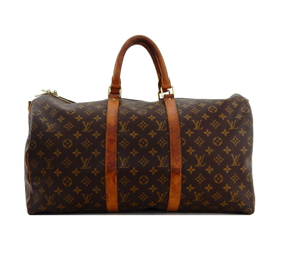 Louis Vuitton Keepall Vintage 50 Duffel Luggage Brown Monogram ... 88aff2fa40879