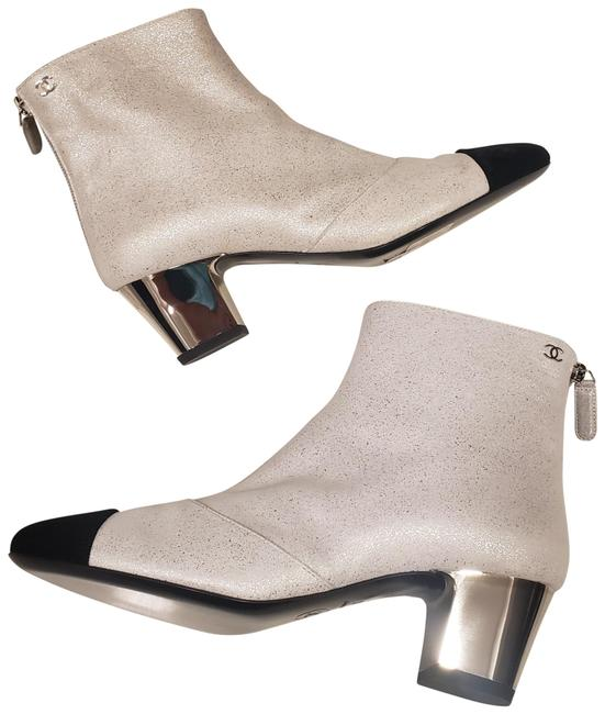 Chanel Silver 18b Laminated Leather Metal Ankle City Boots/Booties Size EU 36 (Approx. US 6) Regular (M, B) Chanel Silver 18b Laminated Leather Metal Ankle City Boots/Booties Size EU 36 (Approx. US 6) Regular (M, B) Image 1