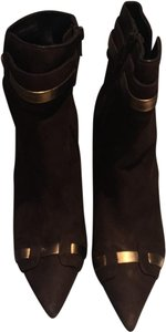 Laundry by Shelli Segal Suede Pointed Toe Stiletto Brown/Gold Metallic Boots