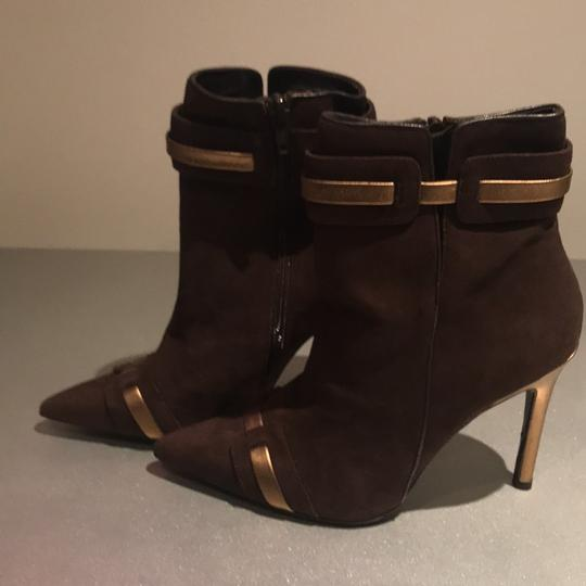 Laundry by Shelli Segal Suede Pointed Toe Stiletto Brown/Gold Metallic Boots Image 1